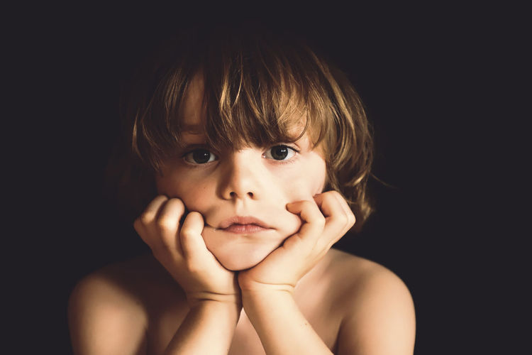 Boring Portrait Looking At Camera Black Background Studio Shot Childhood Headshot One Person Child Front View Shirtless Indoors  Boys Males  Men Close-up Human Body Part Innocence Body Part Human Face Contemplation Bangs