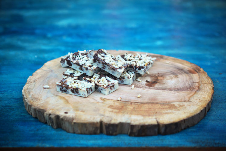 Chocolate White Chocolate Blue Close-up Food Food And Drink Freshness Indoors  No People Still Life Wood - Material