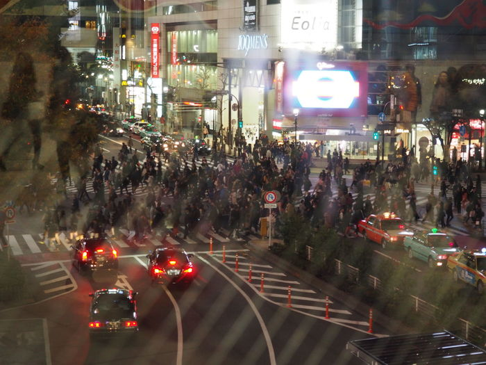 Architecture Car City City Life City Street Crowd Illuminated Land Vehicle Large Group Of People Mode Of Transport Motion Night Outdoors People Real People Reflections Road Rush Hour Shibuya Shibuya Crossing Street Traffic Transportation
