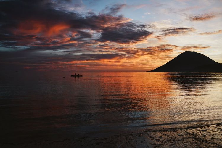 Sunset Beach Colors Orange Reflection Sea Sunset_collection Boat Volcano INDONESIA Sulawesi