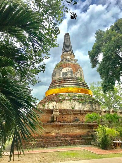Mae Nang Pluam Temple Ayutthaya Thailand Religion Place Of Worship Belief Architecture Built Structure Tree Spirituality Travel Destinations Building Sky No People Nature History Low Angle View Cloud - Sky Building Exterior