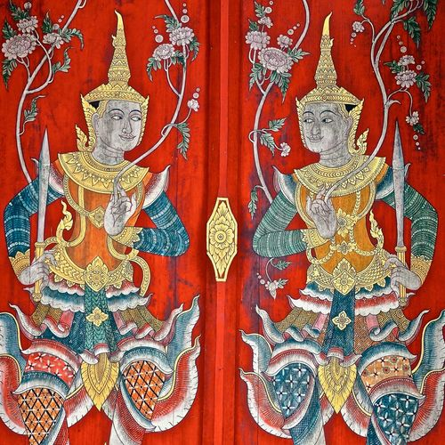 Temple doors at What Pha Lad in the forest of Chiang Man, Thailand. #BuddistArt #Thailand #WatPhaLad #buddhisttemple #chiangmai #doors #temple Day Multi Colored No People Ornate Red