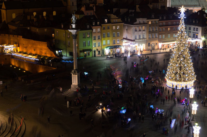 Poland Warsaw Europe City Group Of People Large Group Of People Crowd Real People Night Illuminated Architecture Building Exterior Built Structure Street City Life Holiday Decoration Women Celebration Transportation High Angle View Christmas Men Outdoors Light