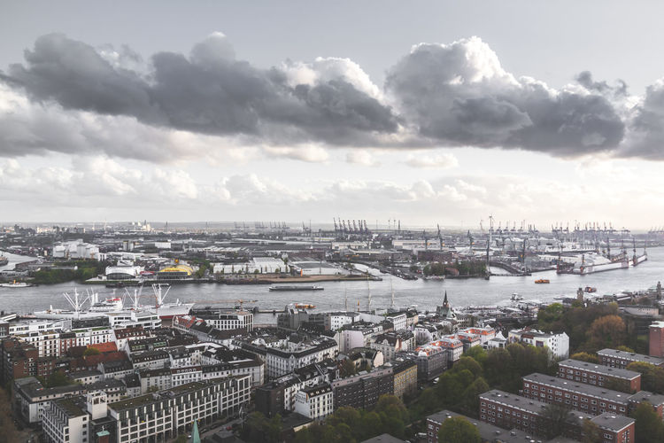 Architecture Bridge - Man Made Structure Building Exterior Built Structure City Cityscape Cloud - Sky Clouds And Sky Day Elbe River Harbour High Angle View Nature No People Outdoors River River View Sky
