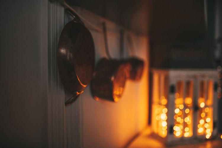 Close-up of illuminated candles