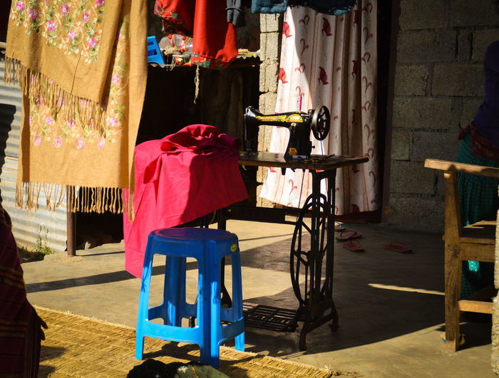 Old Sewing Machine Manual Sewing Machine Sewing Machine Treadle Light And Shadows Colorful Cloth Printed Cloths Day Built Structure Still Life Old Ways