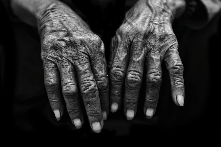 Close-Up Of Wrinkled Hands