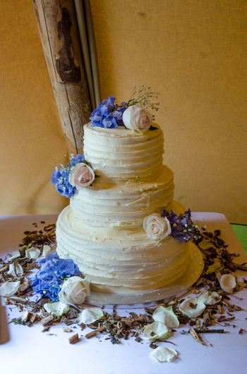A wedding cake. Cake Calories Close-up Day Delicious Dessert Fattening Flower Indoors  No People Table Tasty Wedding Cake