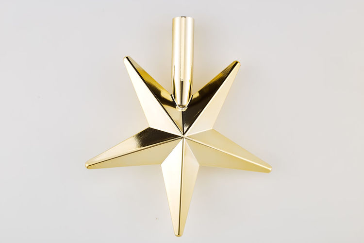 Studio Shot Star Shape Indoors  No People White Background Single Object Close-up Shape Still Life Cut Out Christmas Decoration Copy Space White Color Reflection Celebration Christmas Decoration Shiny Paper Two Objects Luxury