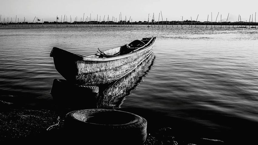 Monochrome Photography nature in black.in white Transportation Boat Water Mode Of Transport Rippled Ocean Group Of Objects Waterfront No People Tranquility Rope Calm Day Anchored Blackandwhite Urban Landscape Scenics Travel Destinations River By The Bay Eyeem Philippines