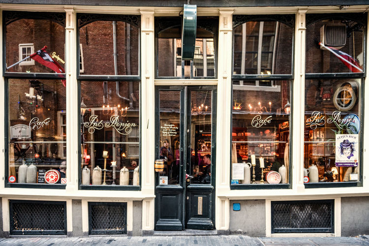 Old shop front in Amsterdam Architecture Glass - Material Built Structure Store Window Building Exterior Transparent Day Store Window City Outdoors Reflection Retail Display Building Business Retail  Amsterdam