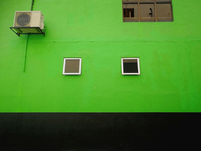 Building Exterior Green Color Architecture Window Built Structure No People Air Conditioner Outdoors Technology Day Close-up Minimalism Simplicity