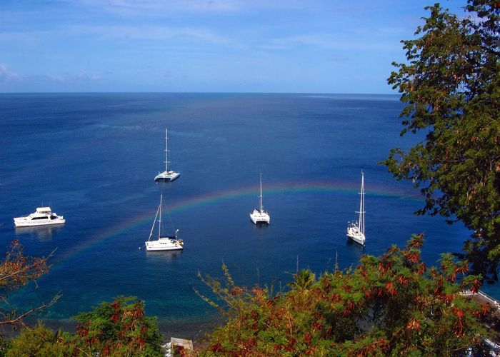 Dominica Boats Water Rainbow Tropical Paradise