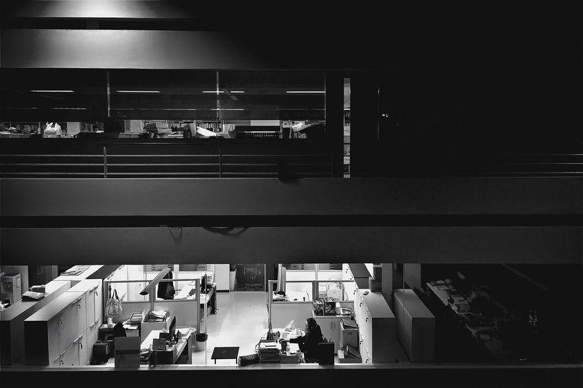 Light Shadow Shade Office Building O.T. Overtime Night Thailand Blackandwhite B&w