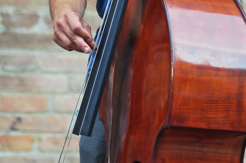 Midsection of person playing cello