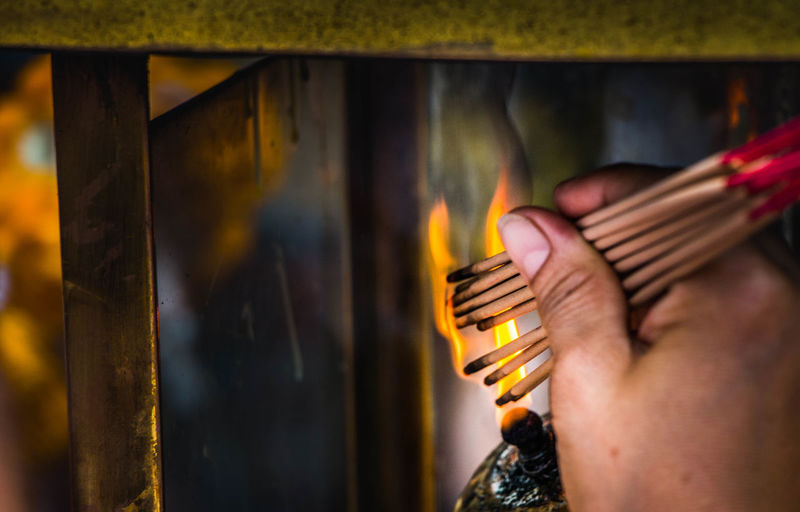 Close-up Day Fire Holding Human Body Part Human Hand Insense One Person Real People