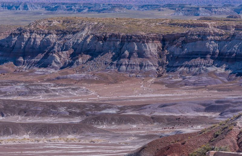 Purple and white badlands at blue mesa in petrified forest national park in arizona
