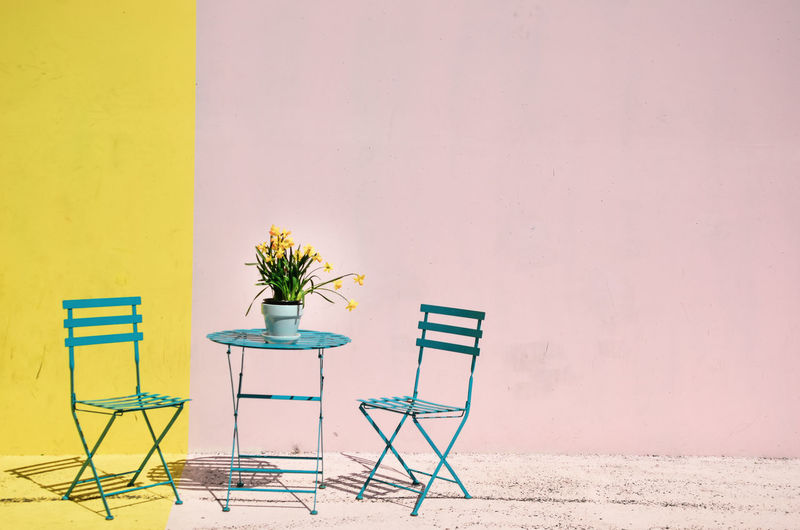 pink/yellow with table and chairs, daffodils Absence Architecture Building Built Structure Chair Copy Space Day Empty Furniture Growth Houseplant Nature No People Outdoors Plant Potted Plant Seat Table Wall Wall - Building Feature Yellow