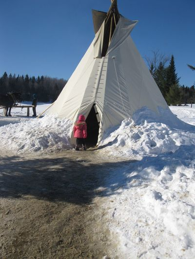 Canada 🇨🇦 Winter Cold Temperature Day Snow Outdoors Nature Sky Snowscape Child On The Snow Tree Tepee White Tepee Snow Landscape  Snow Country Canvas Plow Nature Collection Wintertime Winterscapes Winter_collection Winter Day