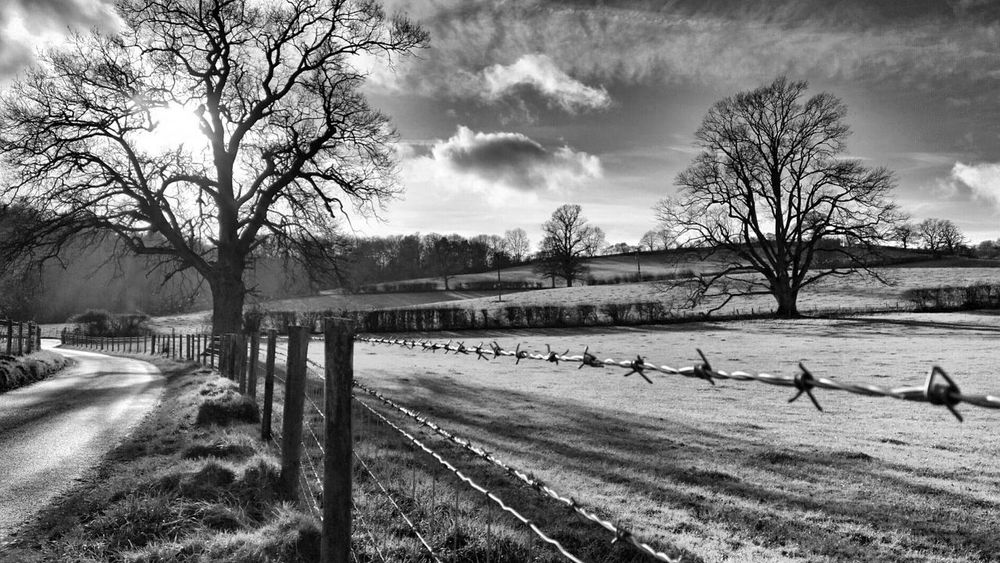 Roadscapes Blackandwhite From The Archives Eye4photography  Exceptional Photographs Roads Striving For Excellence Bnw_collection EyeEm Best Shots EyeEm Landscape Landscape_Collection Landscape_photography Monochrome Black And White Black & White My Cloud Obsession☁️ English Countryside Winter England 🌹 Barbed Wire Fence