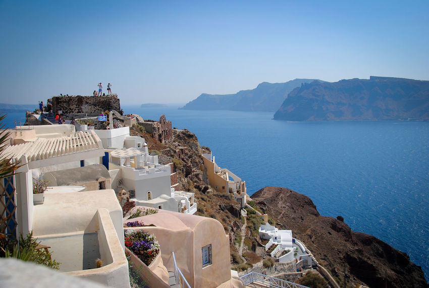Beauty In Nature Blue Coastline Day Greece Hill Idyllic Landscape Mode Of Transport Mountain Mountain Range Nature No People Outdoors Santorini Santorini, Greece Scenics Sky Town Tranquil Scene Tranquility Travel Destinations Water