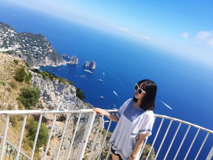 Capri Capri, Italy Italy Travel Beauty In Nature Mideterranian Sea Cariño Gioia Sky Prussian Blue Cobalt Blue Powder Blue Sky Blue Light Blue Summit Sunglasses Boat Beautiful Ocean Healing Place  Photo Photozone