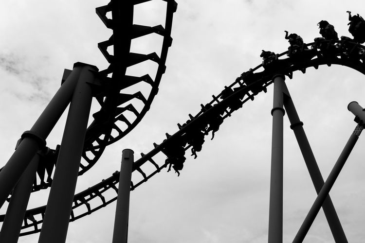 Rollercoaster Amusement Park Amusement Park Ride Arts Culture And Entertainment Day Low Angle View Metal No People Outdoors Roller Coaster Rollercoaster Sky The Week On EyeEm
