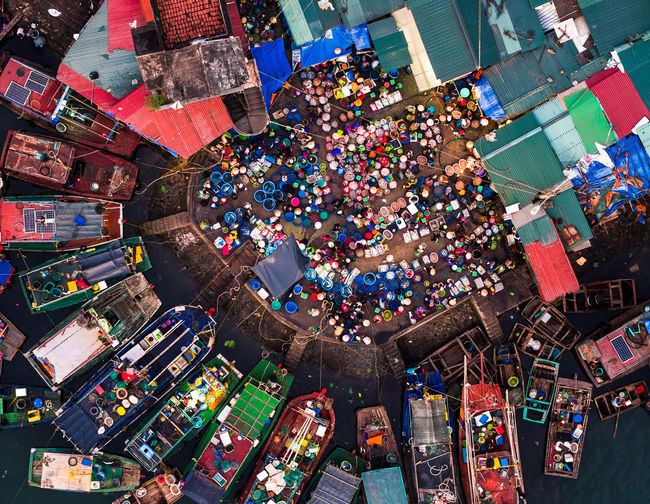 Aerial View Celebration Christmas Christmas Decoration Christmas Market City Cityscape Crowd Day Fish Market Large Group Of People Multi Colored Outdoors People