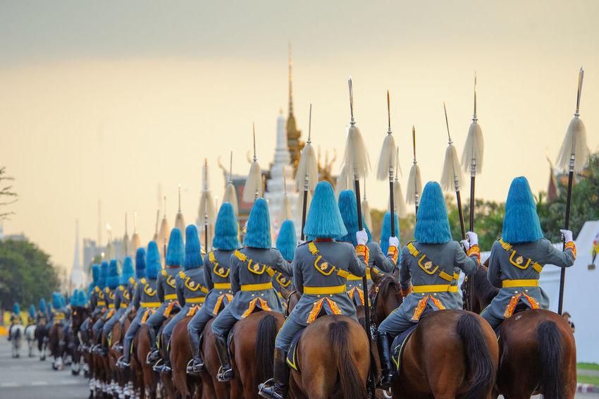Cavalry Architecture Bangkok Bangkok Thailand. Horses Cavalry Cavalry Soldier Day Horse March Outdoors Parade Sky