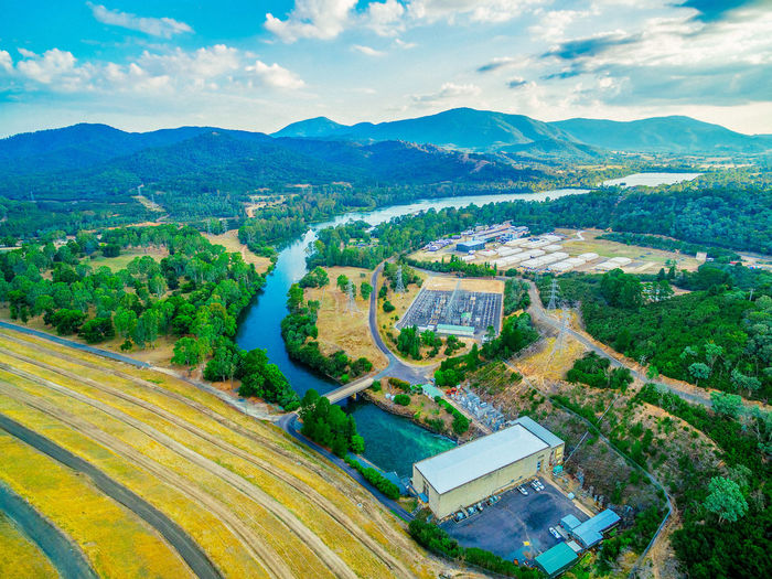 Goulburn River and Lake Eildon Dam - aerial view Australia Australian Landscape Beautiful Drone  Panorama Panoramic Recreation  Aerial View Agriculture Beauty In Nature Cloud - Sky Countryside Day Drone Photography Eildon Eildon Dam Field High Angle View Lake Lake Eildon Landscape Mountain Mountain Range Nature No People Outdoors Patchwork Landscape Recreational Pursuit Road Rural Scene Scenics Sky Tranquil Scene Tree
