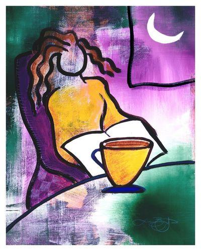 Kona at Night Moon Wall Art Woman Abstract Coffee - Drink Digital Print Home Decor Purple Women Yellow
