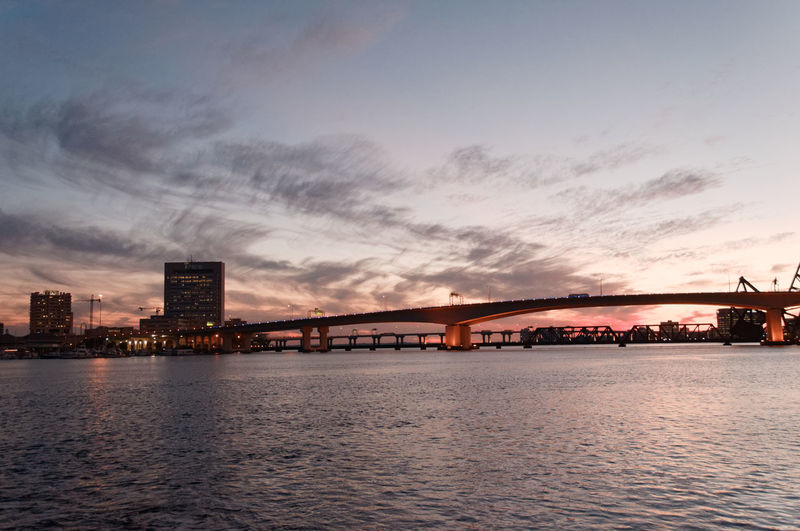 Low Angle View Of Bridge Over St Johns River At Sunset