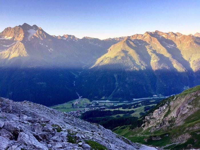 Sun is raising - nice village view to Sankt Anton Am Arlberg Hiking Mountain Beauty In Nature Sun Rise Alps Alpen