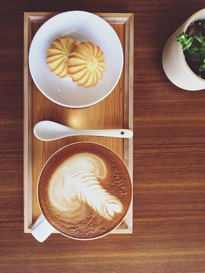 Coffee Break Table Food And Drink Directly Above Freshness Indoors  Coffee Cup Froth Art Coffee - Drink Cappuccino Food Wood - Material Drink No People Plate Frothy Drink Healthy Eating Ready-to-eat Close-up Day