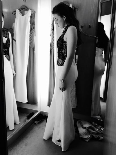 EyeEm Selects Fashion Clothing Store Indoors  Bride Standing Fitting Room Clothing Getting Dressed Full Length One Person Real People Young Adult Day Beautiful Woman Young Women Women Bridal Shop Adult People