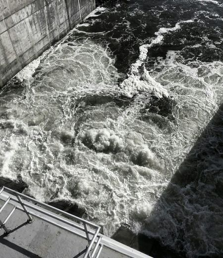 View From Above Churning Water Flow  from Dam Sluice