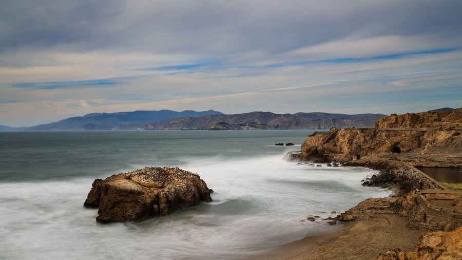 California San Francisco Sutro Bath Ruins  Long Exposure Seascape