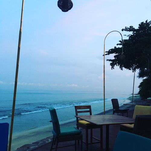 Beauty In Nature Chair Day Horizon Over Water Lombok-Indonesia Nature No People Outdoors Resturant Scenics Sea Sky Table Table Setting Water