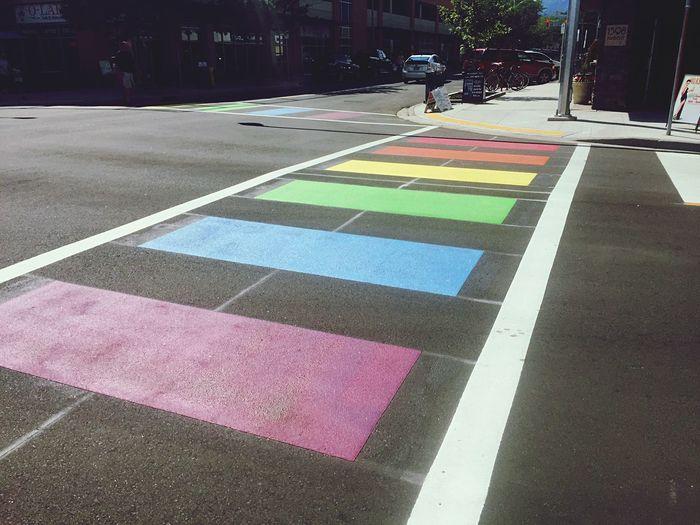 Rainbow crosswalks downtown in spirit of pride. Pride Gay Gay Pride