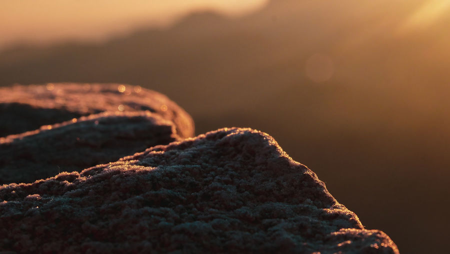 Close-up of rock against sky during sunset