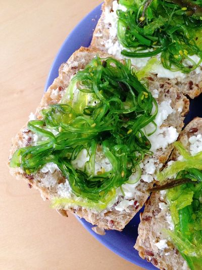 wakame salad with cream cheese on bread roll Bread Roll Brötchen Food Freshness Green Color Healthy Eating Ready-to-eat Wakame Wakamesalad