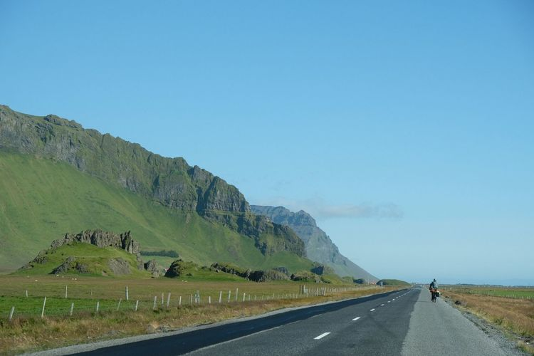 Landscape Lost In The Landscape Sky Iceland Road Roadtrip Road Trip Iceland 🇮🇸 Sunny Day Wheelman Cyclist Summer Road Tripping