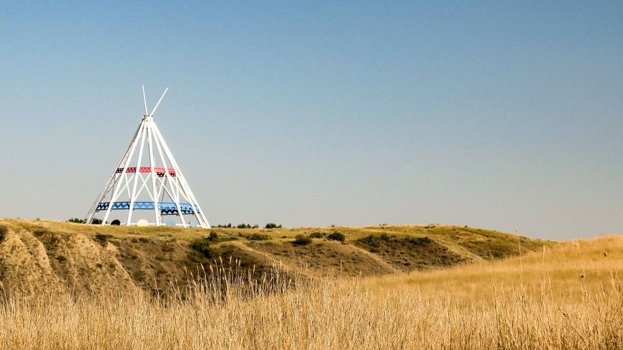 clear sky outdoors scenics travel destinations tipi Medicine Hat Alberta Teepee Saamis Teepee Cycling Trip  Prarie Solotraveler Cycle Touring Canada Coast To Coast Field