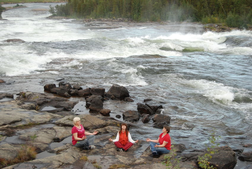 Meditation Storforsen, North Of Sweden Adult Adventure Day Friendship Nature Outdoors People Real People Rock - Object Sea Sitting Togetherness Water Wave Young Adult