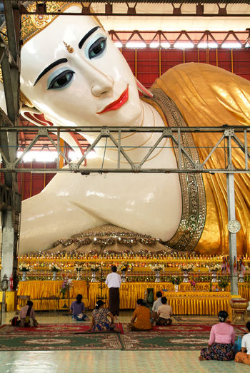 Buddha Pagoda Statue Yangon Buddhism Burma Chaukhtatgyi Day Indoors  Myanmar No People Prying Religion Sculpture Spirituality Statue Temple
