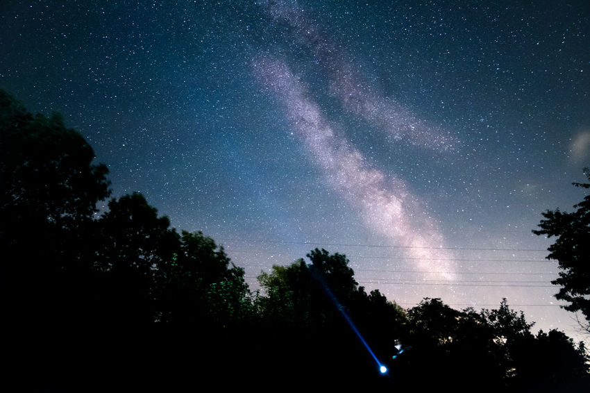 Aiming LED Light Lightbeam Lighting Equipment Astronomy Beauty In Nature Exploration Flashlight Galaxy Long Exposure Majestic Milky Way Nature Night No People Outdoors Scenics Silhouette Sky Space Space And Astronomy Space Exploration Star - Space Star Field Tree