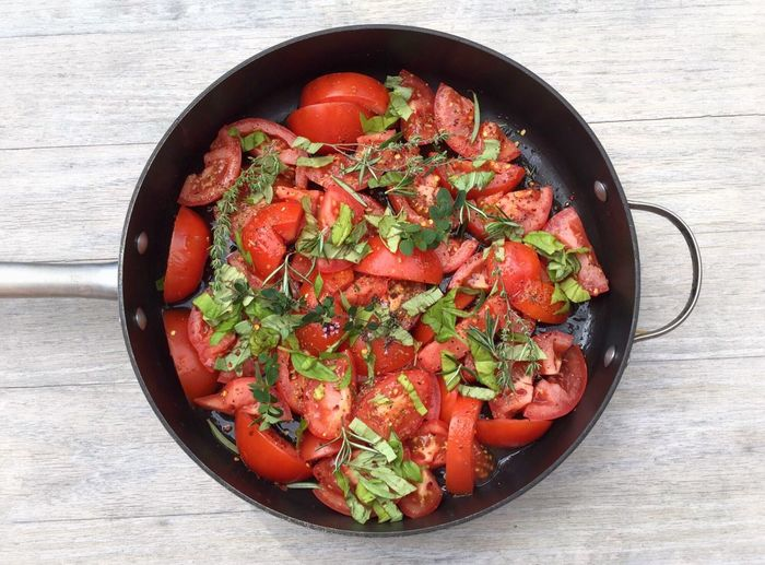 Getting ready to roar some tomatoes Food Vegetarian Food Autumn Red Freshness TomatoesRipe Roasting Tomatoes View From Above