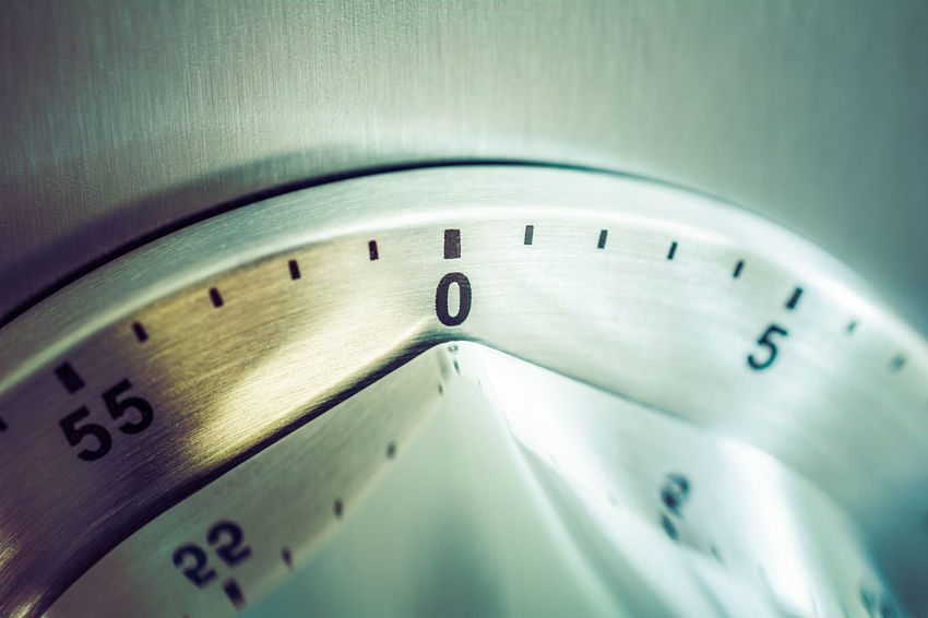 0 Minutes - 1 Hour - Analog Chrome Kitchen Timer Placed On A Fridge 0 Countdown Fridge Reflection Retro Aluminium Analog Chrome Close-up Counting Down Egg Timer Hours Kitchen Timer Macro Metal Minutes Refridgerator Seconds Silver Colored Time Timer Vintage Zero