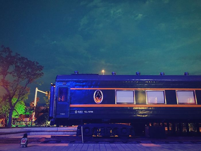 A fairy tale night in Nanjing,really beautiful. Transportation Mode Of Transport Train - Vehicle Sky Public Transportation Blue Outdoors Night No People Architecture Locomotive