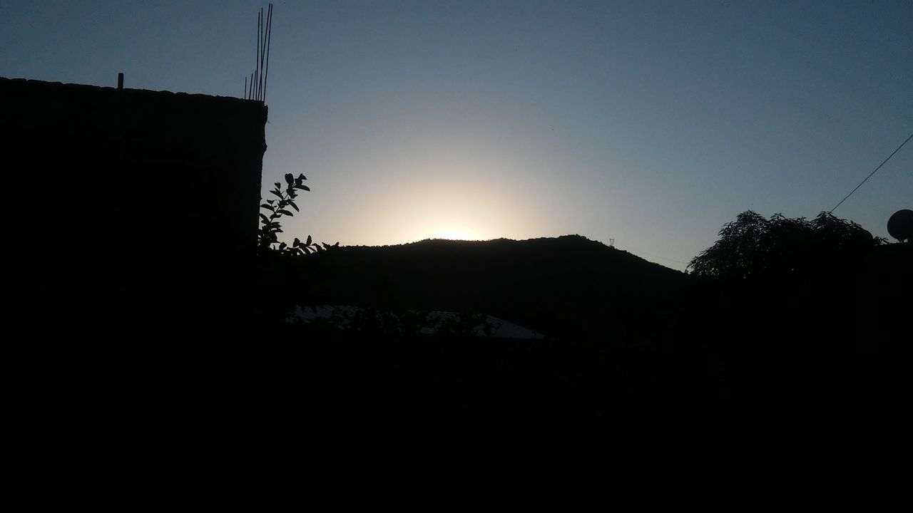 silhouette, sunset, copy space, clear sky, sun, no people, nature, sky, tree, outdoors, mountain, beauty in nature, day